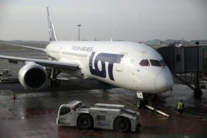Polish Airlines LOT aircraft  Boeing 787 Dreamliner jet is pictured through the window at Chopin airport in Warsaw