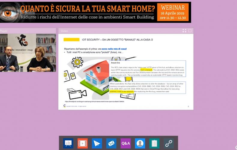 Online il webinar Smart Home Security