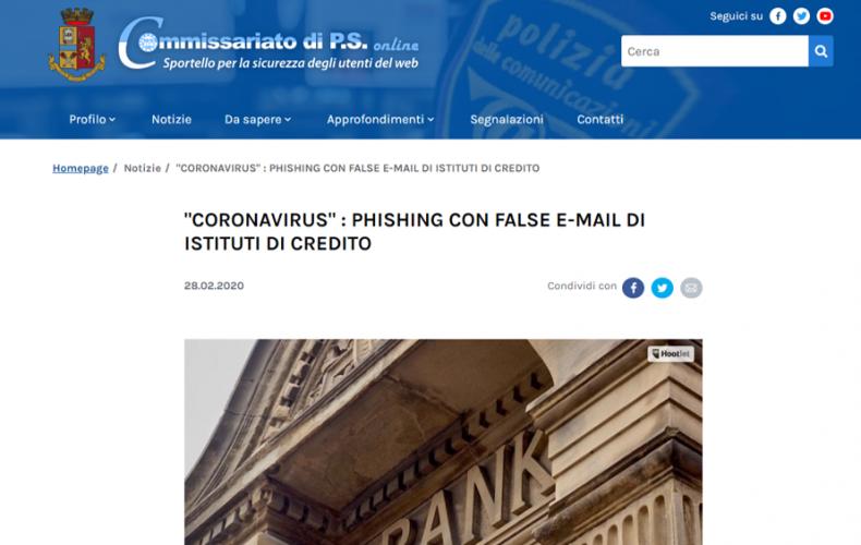 "Phishing ""Coronavirus"": il cyber crime non si ferma"