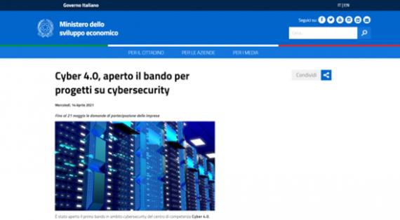 Cyber 4.0, bando da 1 milione di euro per progetti nelle PMI